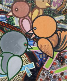 Marcus Weber – Adalbertstraße, Krazy Kat und Artforum-Leser - V-Platz, 2011. Oil on canvas, 24 x 20 in.
