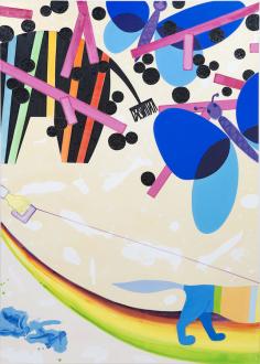 Marcus Weber – Adalbertstraße, Krazy Kat und Artforum-Leser - F-Park (Caparol), 2012. Oil on cotton, 83 x 59 in.