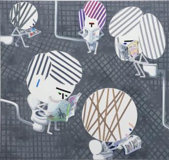 Marcus Weber – Adalbertstraße, Krazy Kat und Artforum-Leser - BEST OF 2013, 2014. Oil on cotton, 74 x 79 in.
