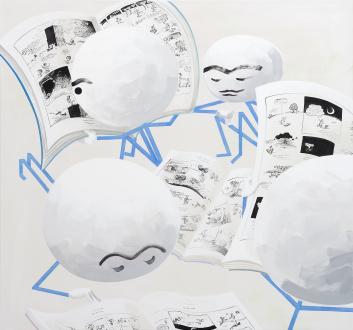 Marcus Weber – Adalbertstraße, Krazy Kat und Artforum-Leser - PEENYONE BUTTE, 2018. Acrylic on cotton, 77 x 83 in.