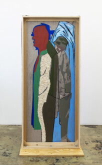 Box Paintings - <i>Mountain Passengers</i>, 2017. Collage, dyed cheesecloth, muslin, acrylic mediums on linen panel mounted on plywood base Panel: 81 ½ × 36 in.