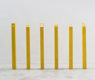 Soft Haze – Xinyi Cheng, Nabuqi, Ali Van - Nabuqi, A View Beyond Space No. 7-12, 2015. Stainless steel, varnish, 51 x 25 ½ x 25 ½ in. each