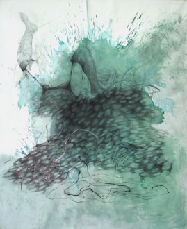 Contemporary Art from Pakistan – Huma Mulji, Bani Abidi, Naiza Khan, Hamra Abbas, Rashid Rana, Mahbub Shah, Zahoor Ul Akhlaq, Muhammad Zeeshan - Naiza Khan: Untitled, 2006. Graphite, charcoal and watercolor on paper, 73 x 59 in.