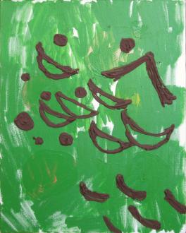 of certain instability – Whitney Claflin, Harriet Korman, Nolan Simon, Hans-Peter Thomas aka Bara - Nolan Simon, <i>Goul</i>, 2010. Oil and caulk on canvas, 20 x 16 in.