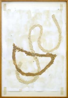 of certain instability – Whitney Claflin, Harriet Korman, Nolan Simon, Hans-Peter Thomas aka Bara - Nolan Simon, <i>Organ</i>, 2010. Mastic, caulk and oil on paper in artist's frame, 35 x 24.5 in.