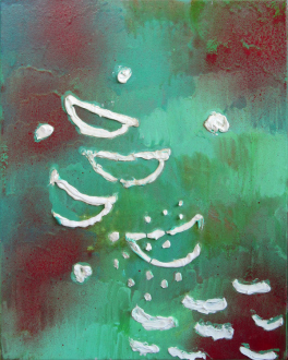 of certain instability – Whitney Claflin, Harriet Korman, Nolan Simon, Hans-Peter Thomas aka Bara - Nolan Simon, <i>Boyjoy</i>, 2011. Oil, caulk and enamel on canvas, 20 x 16 in.