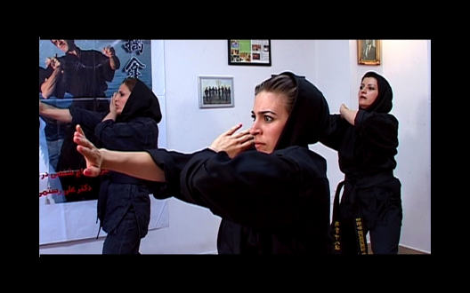 Iran via Video Current – a screening curated by Amirali Ghasemi and Sandra Skurvida - Negar Tahsili: Wee-men or Women?! 2008. Video, 26:00 min, image courtesy the artist and OtherIS.  Social body experience from a woman's perspective in Tehran is the focus of Tahsili's documentary films. Her work Wee-men or Women?! follows a female-only Tehran taxi driver around town - potential dangers of public transportation for women traveling alone are discussed along the way with the driver. Concurrently, self-defense courses for women are featured. At the surprise ending of the film, the attack comes from where it is not expected; and neither special transportation nor self-defense can protect against this powerful assailant.