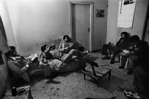 Pablo Bartholomew – Outside In - Nizamuddin Gang Hanging Out at Ruhan's Pad, New Delhi, 1978. Gelatin silver print, edition of 10 (+3 AP), 16 x 24 in.
