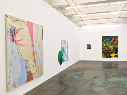 Pleasure in Precariousness – Sarah Faux, Haley Josephs, RJ Messineo, Wang Chen - Installation view: Symbol-life, Untitled (Greens) & Float Tank, Late June, and Fallen.