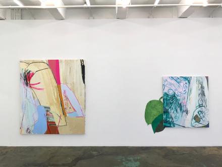 Pleasure in Precariousness – Sarah Faux, Haley Josephs, RJ Messineo, Wang Chen - Installation view: Symbol-life, Untitled (Greens) & Float Tank.
