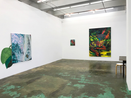 Pleasure in Precariousness – Sarah Faux, Haley Josephs, RJ Messineo, Wang Chen - Installation view: Untitled (Greens) & Float Tank, Late June, and Fallen.