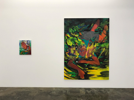 Pleasure in Precariousness – Sarah Faux, Haley Josephs, RJ Messineo, Wang Chen - Installation view: Late June, and Fallen.