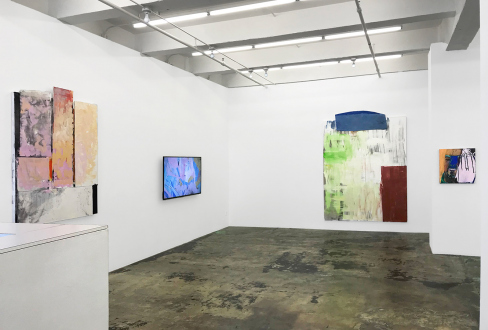 Pleasure in Precariousness – Sarah Faux, Haley Josephs, RJ Messineo, Wang Chen - Installation view: Rose Window, Rabbit Hole, Blue Cloud, and This Is How It Looked.