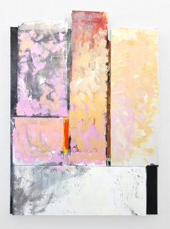 Pleasure in Precariousness – Sarah Faux, Haley Josephs, RJ Messineo, Wang Chen - xxx. Oil and clothes on canvas with stretcher bars, 104 x 101 in.