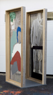 Box Paintings - <i>Passengers</i>, 2016 Collage, dyed cheesecloth, muslin, acrylic mediums on linen panel mounted on plywood base Panel: 81 ½ × 36 in.