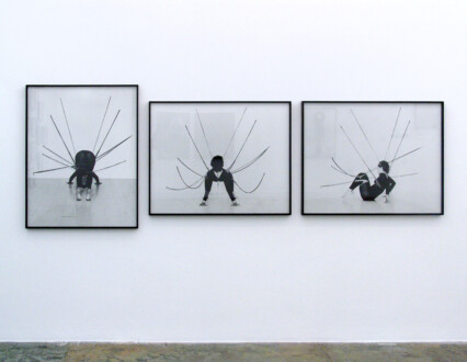 Performance Photographs - <i>Performance Piece</i>, 1978. Silver gelatin print, triptych, 31.5 x 40 in each, edition of 5 (+1 AP). Nylon Mesh, Senga Nengudi, Maren Hassinger Pearl C. Woods Gallery, Los Angeles Photo: Harmon Outlaw