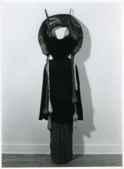 Performance Photographs - <i>Performance with 'Inside/Outside,'</i>1977. Silver gelatin print, 40 x 30 in, edition of 5 (+1 AP). The sculpture Inside/Outside: nylon mesh, rubber, foam Photo: Ken Peterson