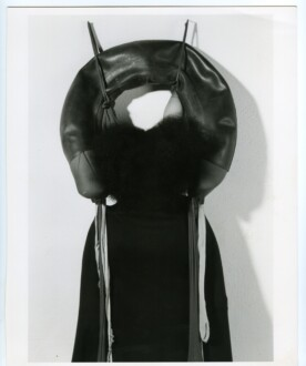 Performance Photographs - <i>Performance with 'Inside/Outside,'</i> 1977. Silver gelatin print, 40 x 30 in, edition of 5 (+1 AP). The sculpture Inside/Outside: nylon mesh, rubber, foam Photo: Ken Peterson
