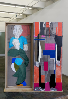 Dona Nelson - <i>Platform</i>, 2017. Collage, dyed cheesecloth, muslin, and acrylic mediums on linen mounted on plywood base, panel: 81.5 x 36 in, base: 74 x 22 in. Installation view, <I>models stand close to the paintings</i>, Thomas Erben Gallery, 2017.