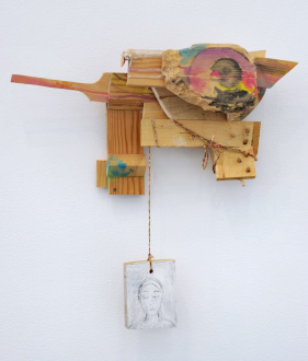 Róza El-Hassan – Labyrinth of Rebellion - Untitled, 2012-2017. Wood and mixed media. 14 x 21 x 7 in.