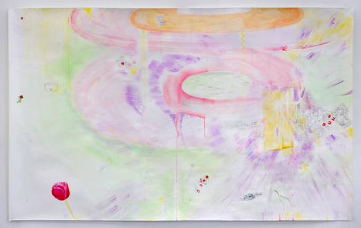 Róza El-Hassan – Labyrinth of Rebellion - Hunger Strike, 2015. Work on paper. 75 x 47 in.