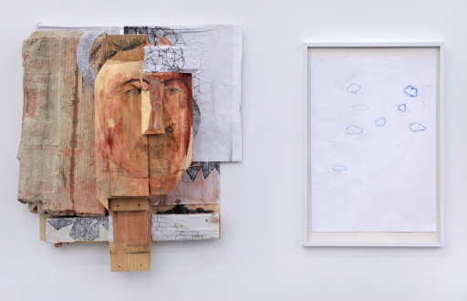 Róza El-Hassan – Labyrinth of Rebellion - (Left to right) Portrait of psychiatrist and cognitive scientist Charlotte Buhler, 2017. Wood and mixed media. 22 x 22 x 11 in. & Clouds, 2015 Work on paper. 9.5 x 13.5 in.