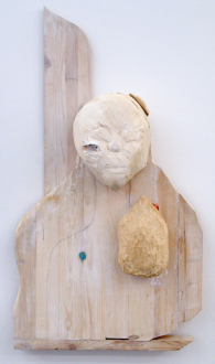 Roza-El-Hassan - Enigma, 2013. Wood and mixed media, 44 x 23 x 14 in.