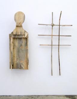 Roza-El-Hassan - Freedom Sculpture, 2014. Wood sculpture, bust: 55 x 18 x 9.5 in.; grid: 62 x 32 x 5.5 in.