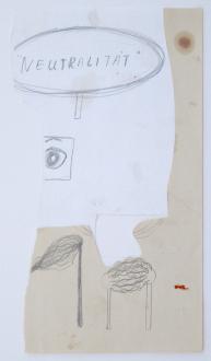 Roza-El-Hassan - Neutralität, 2002. Work on paper, 11.75 x 6.75 in.