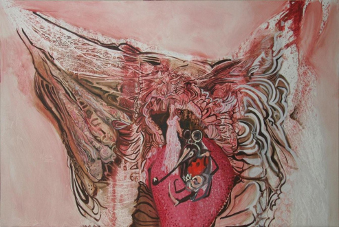 Looped and Layered – Contemporary Art from Tehran - Rokni Haerizadeh Life on DIVV's Trunk I, 2008. Oil on canvas, 78.75 x 118 in.