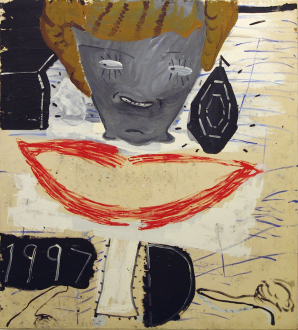 Rose Wylie – What with What - Princess with Ear Ring, 1997. Oil on canvas, 72 x 66 in.