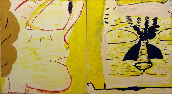 Rose Wylie – What with What - Plastic Bride Profile & Cat, 1998. Oil on canvas, 72 x 136 in.