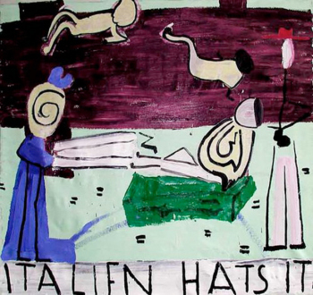15 Years Thomas Erben - Rose Wylie, Italien Hats, 2003. Oil on canvas, 68 x 72 in.