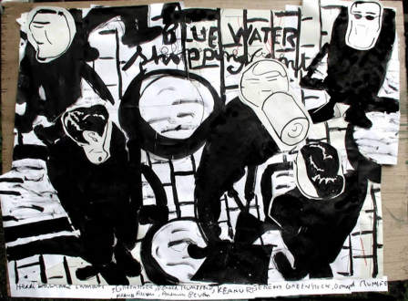 Animate Matter – Pia Maria Martin, Dona Nelson, Richard Staub, Rose Wylie - Rose Wylie: Waiting About at Bluewater, 2003. Collage, ink, marker and colored pencil on paper, 25 x 89 in.