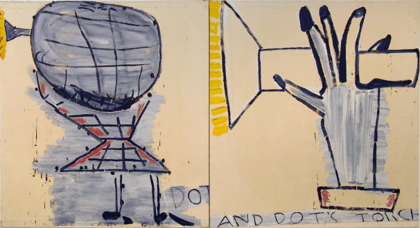 Rose Wylie – What with What - Dot & Detail, 2004. Oil on canvas, 72 x 144 in.