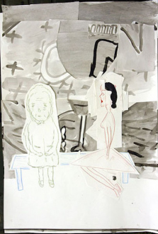 Animate Matter – Pia Maria Martin, Dona Nelson, Richard Staub, Rose Wylie - Rose Wylie: PC and Her Mother, 2007. Ink and colored pencil collage on paper, 33 x 23 in.
