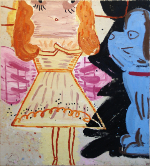 Rose Wylie – What with What - Christmas Fairy, 2008. Oil on canvas, 72 x 65 in.