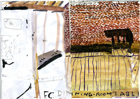 Rose Wylie – What with What - FC Dining Room, 2009. Watercolor, collage on paper, 12 x 16.5 in.