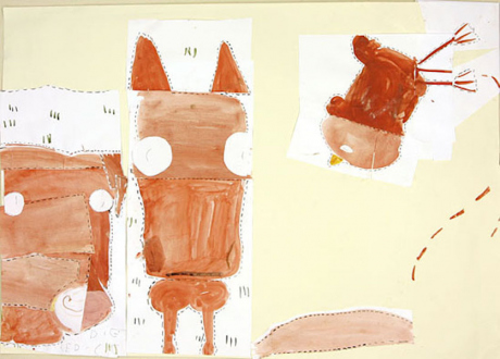 Animate Matter – Pia Maria Martin, Dona Nelson, Richard Staub, Rose Wylie - Rose Wylie: Horse, Pig & Chicken (fairy tale), 2009. Watercolor and collage on paper, 23 x 33 in.