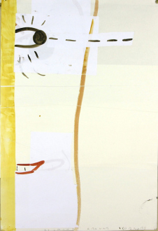Animate Matter – Pia Maria Martin, Dona Nelson, Richard Staub, Rose Wylie - Rose Wylie: Looking Round Corners, 2009. Watercolor and collage on paper, 33 x 23 in.