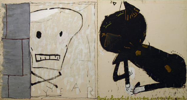 Rose Wylie – What with What - Cat & Skull, 2010. Oil on canvas, 72 x 135 in.