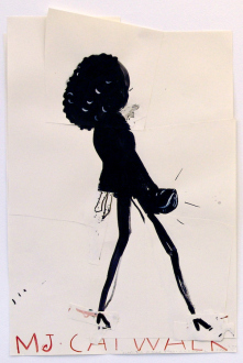 Rose Wylie – What with What - Cat-Walk Girl, 2010. Ink, acrylic, collage on paper, 36 x 23.5 in.