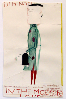 Rose Wylie – What with What - Chinese Film Star (Film Notes), 2010. Ink, watercolor, collage on paper, 36 x 23.5 in.