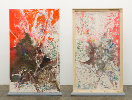 Box Paintings - <i>Ringoes</i>, 2019. Acrylic and acrylic medium and cheesecloth on linen (two sided) 81 × 48 in.