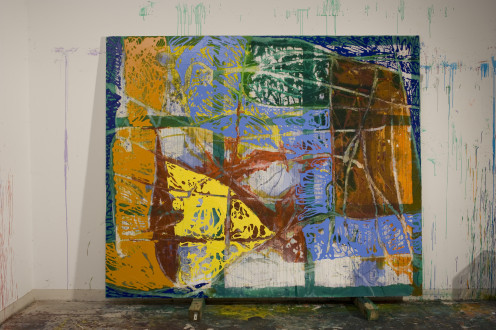 Dona Nelson - <i>Roman Luther</i>, 2011. Acrylic and mixed media on canvas, 88 x 108 in. (studio shot)
