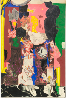 Painting in due time – Scott Anderson, Lydia Dona, Denzil Hurley, Harriet Korman, Hanneline Røgeberg, Marcus Weber - Scott Anderson, <i>Roadshow</i>, 2016. Oil and oil crayon on canvas, 45 x 30 in.