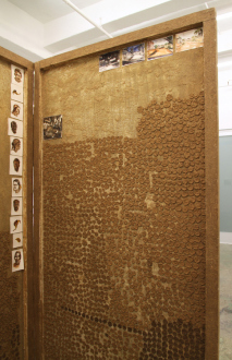 Sheela Gowda, Yamini Nayar – Arrested Views - Sheela Gowda Private Gallery, 1999. Cow dung, lamination sheet, watercolor on paper, plyboard and wood (2 panels + set of nine water color paintings), each panel 78 x 42 x 1.5 in (detail).