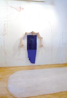 Senga Nengudi – Wet Night, Early Dawn, Scat-Chant, Pilgrims Song - Senga Nengudi, Pilgrim's Song, 1996. Metal, plastics, spray paint, chopsticks and wall drawing, 14 x 14 ft (installation view).