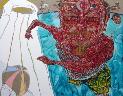 New Selections: South Asia – Vinod Balak, Faiza Butt, Hasan Elahi, Anoka Faruqee, Koshal Hamal, Ehsan ul Haq, Sreshta Rit Premnath, Schandra Singh - South Asia - Schandra Singh: Bob, 2010. Oil on linen, 108 x 84 in. Courtesy Shumita & Arani Bose Collection, NY.