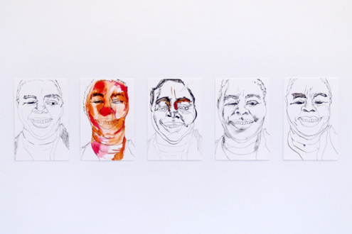 Schandra Singh – God Don't Like Ugly - Studies for Dorothy, 2012. Ink and watercolor on paper, 9 x 6 inches each.